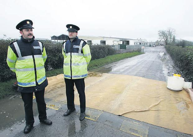 Gardai at the entrance to Ballon Meats in Carlow during the last foot-and-mouth scare in 2005