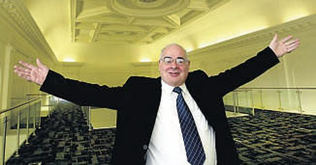 Trustee Damien Cassidy embraces the refurbishment of the 1823 Academy Theatre and Music Hall in Pearse Street. Pic: Martin Nolan