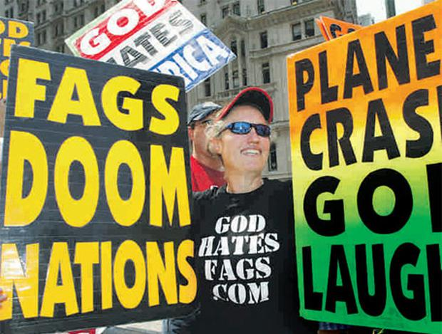Shirley Roper-Phelps with fellow members of the Westboro Baptist Church as they protest near Ground Zero