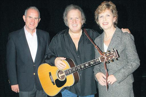 President Mary McAleese and her husband, Martin, meet music legend Don McLean before his opening concert at Dublin's Olympia Theatre at the weekend. The president arrived on stage at the end of the gig and both received a standing ovation. Afterwards, the 'American Pie' singer spoke with the McAleeses and their three children backstage for 10 minutes
