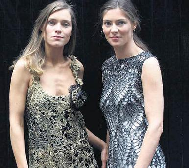 Chacha and Sarah Seigne wearing designs by Lainey Keogh