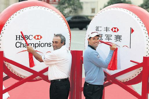 Angel Cabrera of Argentina (left) and Padraig Harrington of Ireland share a joke at the launch of the Champions golf tournament in Shanghai. The pair are part of a top-class field who will do battle in the 3.4m euros event