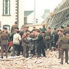 The scene of carnage after the IRA's bomb exploded during at Remembrance Day service in Enniskillen in 1987, killing 11 people