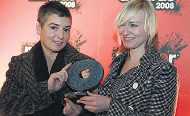 Sinead O'Connor with Cathy Davey at yesterday's Meteor Ireland Music Awards launch. They take place on February 15
