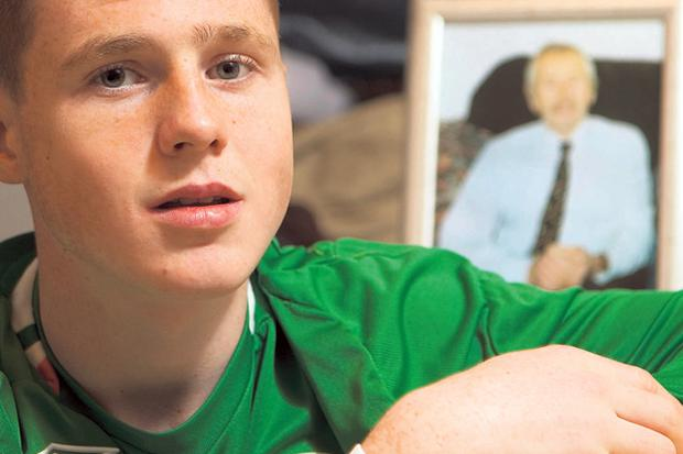 James McCarthy, pictured above and below, at his home in Glasgow was hugely influenced in his decision to play for Ireland by his grandfather and has impressed in their under-age teams