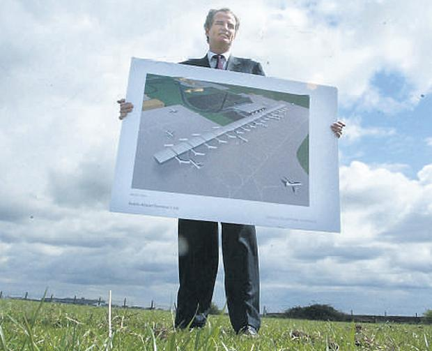 Ulick McEvaddy on his lands adjoining Dublin Airport where he proposes to build a competing terminal to the DAA units
