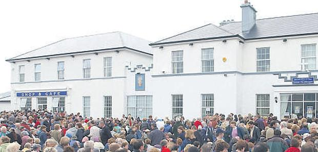Crowds gather at the House of Prayer in Achill which was founded by Ms Gallagher