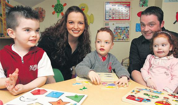 Janice and Ken Berry with their children (from left) Aaron, Cathal and Sadhbh. Both Aaron and Cathal suffer from autism