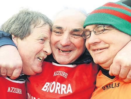 The club scene remains an example of all that is good about the GAA as epitomised by David Maher's picture as Birr manager Pa Joe Whelahan (centre) celebrates with club chairman with Brian Coulahan (left) and selector Billy Mullins after their victory over Dunloy in Clones yesterday