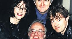 Dermot Morgan with his 'Father Ted' cast members Ardal O'Hanlon, Frank Kelly and Pauline McLynn