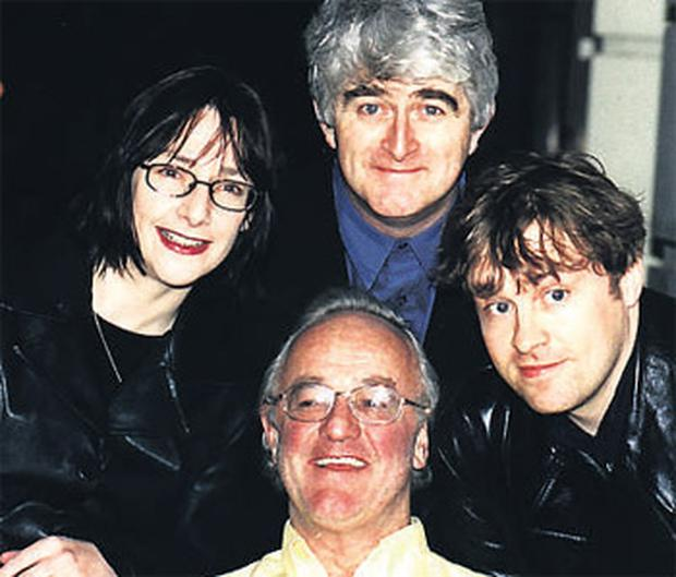 The late Frank Kelly with his Fr Ted Costars Dermot Morgan Ardal O'Hanlon and Pauline McLynn