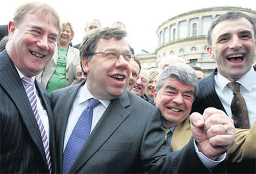 Brian Cowen with members of the Fianna Fail parliamentary party