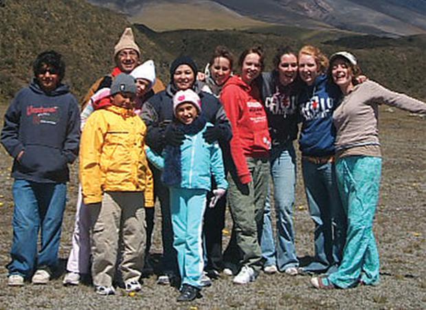 Room to roam: Rowena Crowley (4th from right) and fellow adventurers on their gap year in Ecuador