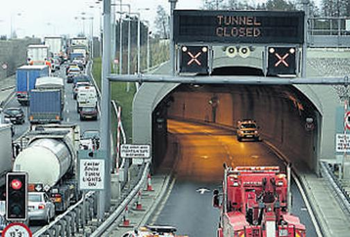 Traffic is redirected away from the Port Tunnel, causing major congestion after this closure in March of this year