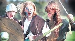 LET BATTLE COMMENCE: Members of An Dal Cuinn re-enact the Battle of Clontarf. For too long history has been taught from a slanted perspective. The Irish were always right and somebody else was always wrong. Long ago, in the primary schools, this attitude reached comical heights: we were taught that the Battle of Clontarf was a kind of European Cup Final between Ireland and Denmark, and that Ireland won