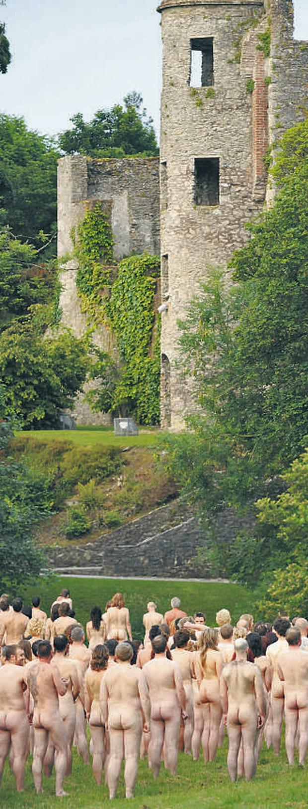 Participants avert their gaze and look instead at Blarney Castle