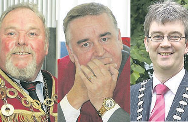 New Limerick mayor John Gilligan (left), his defeated rival Kevin Kiely (centre) and Killarney mayor Patrick O'Donoghue.