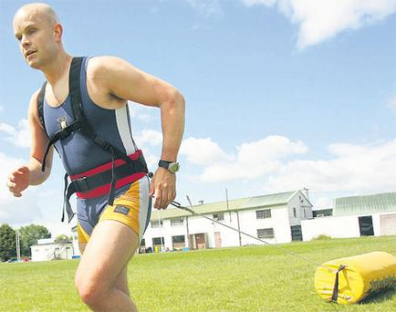 Driven: Mark Pollock in training ahead of his race to the South Pole