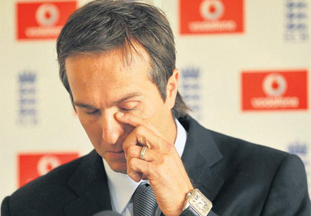 Former England cricket captain Michael Vaughan sheds tears as he steps down from his post last week