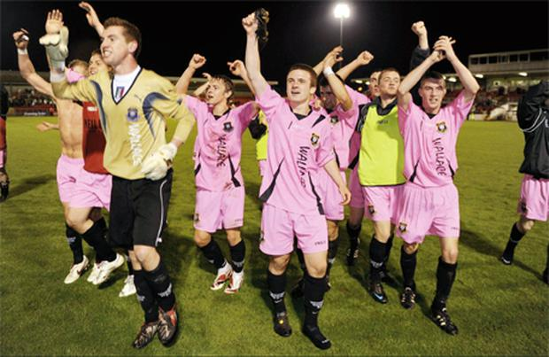 Wexford Youths players celebrate after their side's victory over Cork City in the eircom League of Ireland Cup semi-final in Turner's Cross.