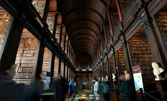 A general view of the main chamber of the Old Library, The Long Room, in Trinity College Dublin Photo: John D McHugh/Getty Images