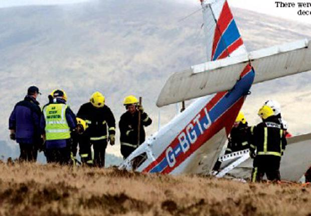Emergency services at the crash site in the Wicklow mountains.