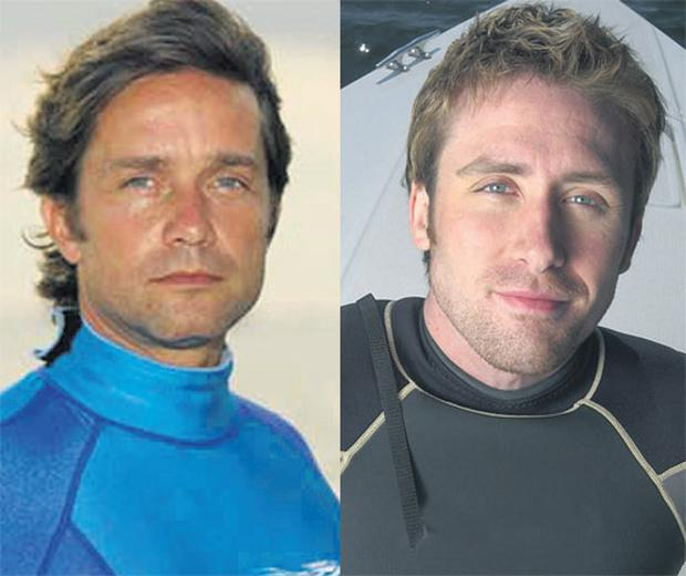 FEUDING COUSINS: Fabien, left, who was groomed to take on the Cousteau mantle and young pretender Philippe, who has emerged as a new rival on TV