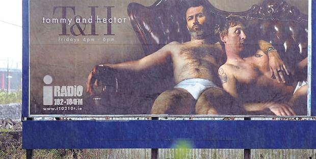 Tommy Tiernan and Hector O hEochagain as never seen before on a billboard to promote iRadio