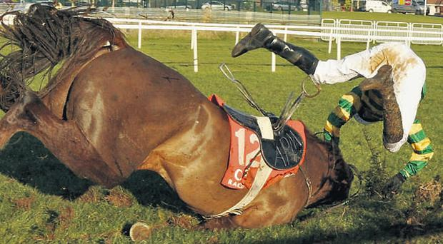 British champion jockey AP McCoy suffers a crashing fall on board Wanango in 2008