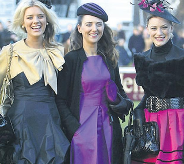 Louise Lynn (centre) from Roscommon, the winner of the best-dressed lady competition at Leopardstown races yesterday. with the runners up Alyson Boyle from Dublin(left) and Megan Hyland from Kildare