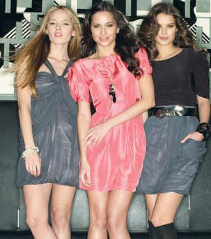 Halter-neck dress €72; pink dress, €65, and top, €46, with skirt, €48.93