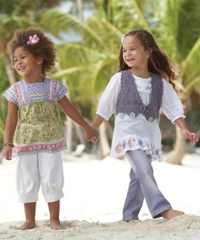 Next Spring Summer 2009 - Childrenswear. Paisley printed smock top from €13, wide linen trousers from €10; Crochet waistcoat €18, butterfly €18, flare jeans €15