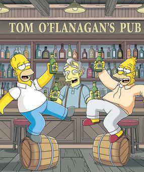 Homer and Grampa get into the party spirit in the Irish episode