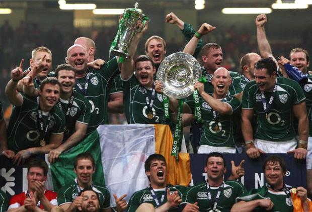 Ireland, 6 Nations Champions, winners of the Grandslam and the Triple Crown, celebrate with the trophies following their victory during the RBS 6 Nations Championship match between Wales and Ireland at the Millennium Stadium. Photo David Rogers/Getty Images