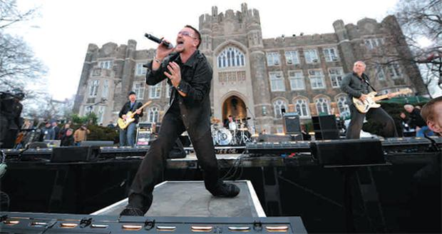 States awake - U2 perform on 'Good Morning America' last month to promote 'No Line on the Horizon'