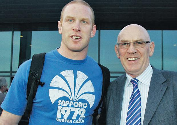 NewLions captain Paul O'Connell pictured with his proud fatherMichael last night after hearing the announcement