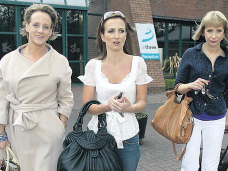 Lorraine Keane leaves TV3's studios yesterday with ex-colleagues Sybil Mulcahy and Aisling O'Loughlin