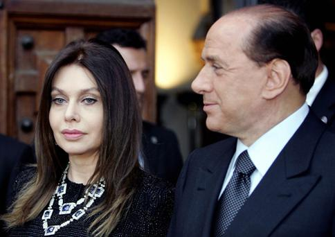 Italian Prime Minister Silvio Berlusconi and his wife Veronica Lario in Rome back in 2004. Photo: Getty Images