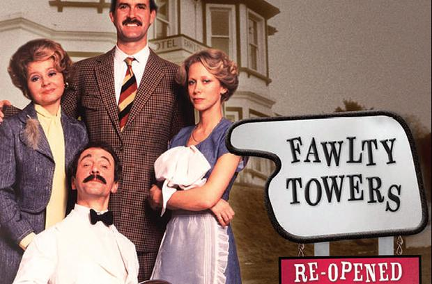Together again: Fawlty Towers cast, from left, Prunella Scales, Andrew Sachs, John Cleese and Connie Booth