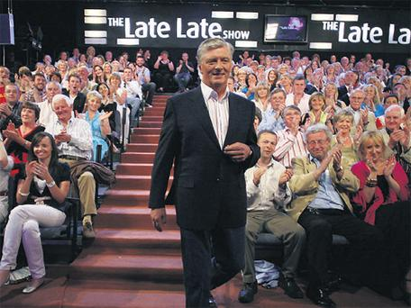 Pat Kenny comes down the steps of the Late Late studio in Montrose for the last time