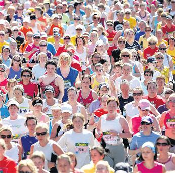 A sea of competitors make their way from the start line at Merrion Square, Dublin