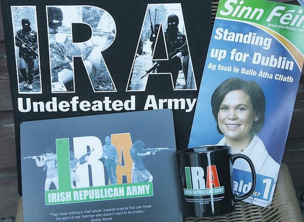 Some of the merchandise currently on sale in the Sinn Fein shop in Parnell Square, Dublin.