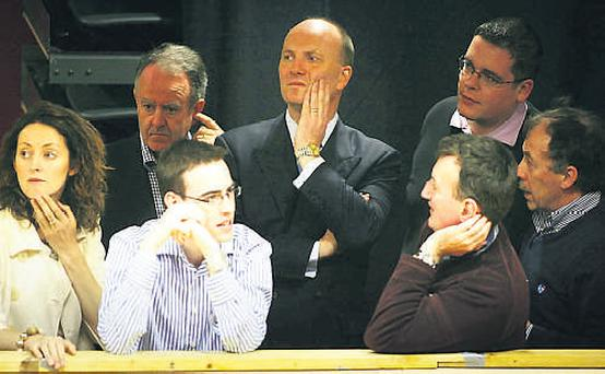Declan Ganley (centre) keeps an eye on the recheck in Castlebar yesterday. Photo: PHOTOCALL/BRIAN FARRELL