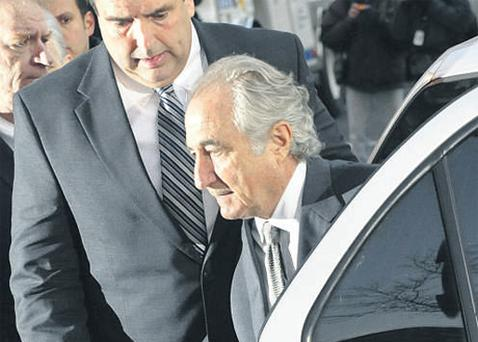 Bernard Madoff arriving at Manhattan federal court in New York during his trial