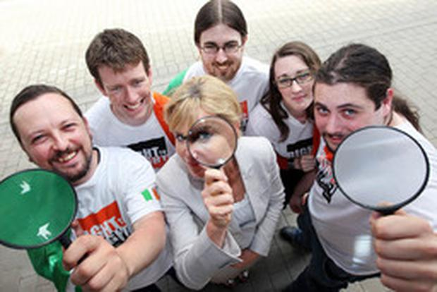 Dr Kate Coleman, eye surgeon and founder of Right to Sight, with the Trinity Sight team: Aidan Lynch; Eoin O'Brien; Daniel O Byrne; Maria Francesca O'Connor and Felim Ros Mc Mahon