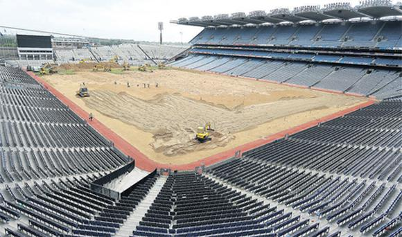 The scene at Croke Park as the final pieces of the pitch were ripped up by mechanical diggers after the Leinster final on Sunday