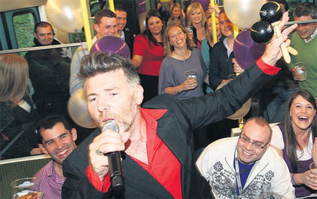 Singer Jerry Fish performing last nigtht on board the special DART service with live bands and party fun to celebrate the 25th anniversary of the DART