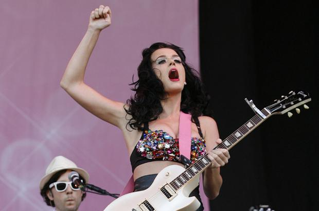 Katy Perry, gets the crowd on their feet at V Festival. Photo: Getty Images