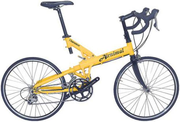 Airnimal: Airnimal's Chameleon Performance is a sturdy road bike that doesn't look as if it would fold up, but it does. And it only weighs 10.2kg. Ideal for long distances, it features a 20 speed Shimano 105 group set and drop bar plus a simple suspension system. Price £1499 (€1700) Airnimal.eu