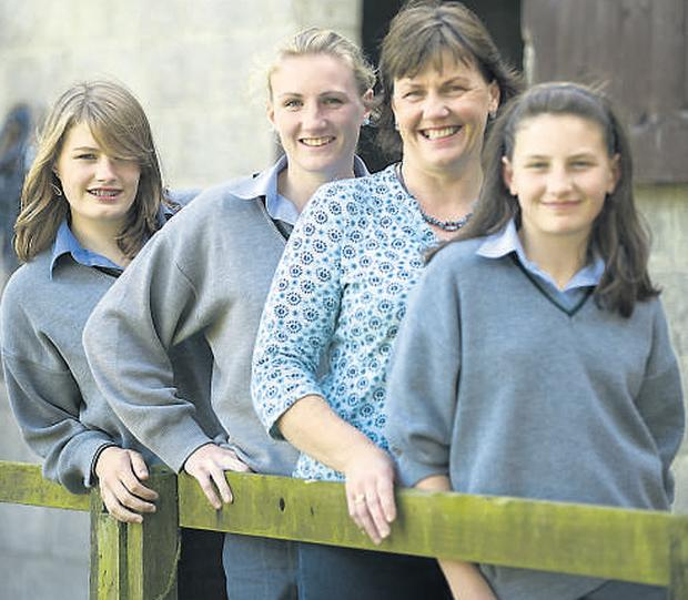 Avril Copithorne at home in Garretstown, Co Cork, yesterday with her daughters Alice, Grace and Adrienne who are attending Bandon Grammar School.